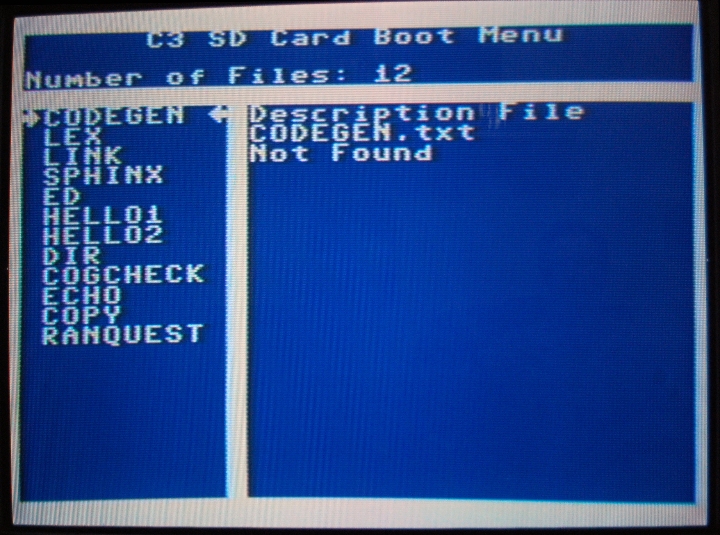 The Propeller C3 Boot Menu allows the C3 to boot from the SD Card!