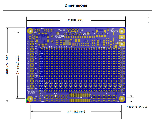 Propeller Project Board USB - Dimensions.