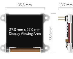 4D System µOLED 128 G2 Dimensions.