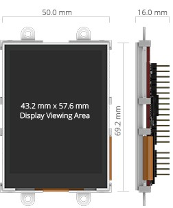 2.8 inches microLCD PICASO Display dimensions.