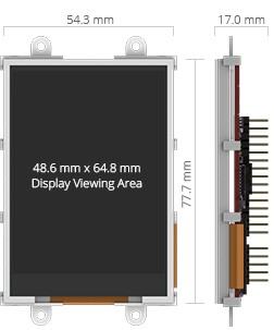 3.2 inches microLCD PICASO Display dimensions.