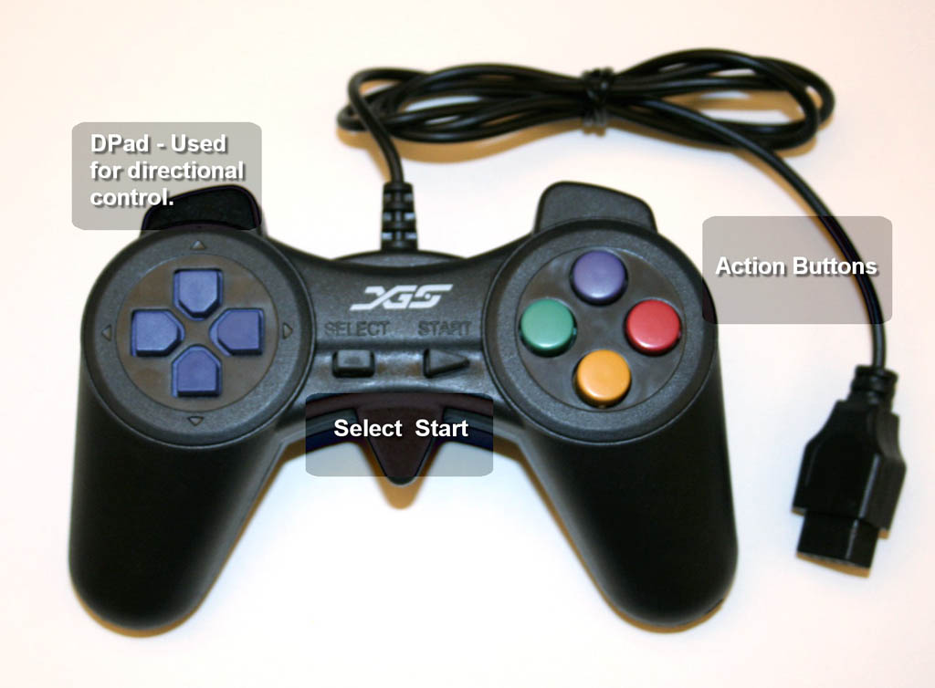 XGS™ Game Controller fully annotated.