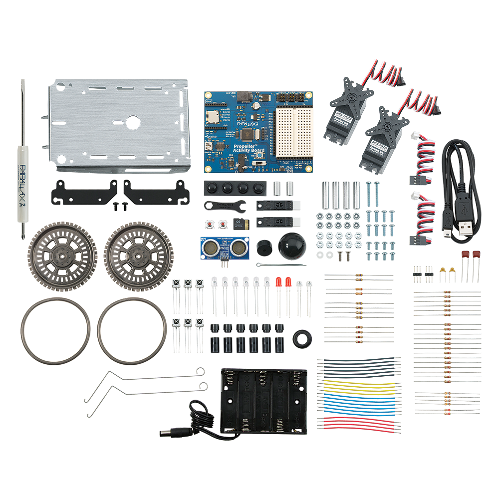 Parallax multicore Propeller ActivityBot Robot Kit Parts View.